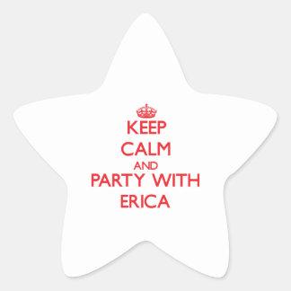 Guarde la calma y vaya de fiesta con Erica Pegatina En Forma De Estrella