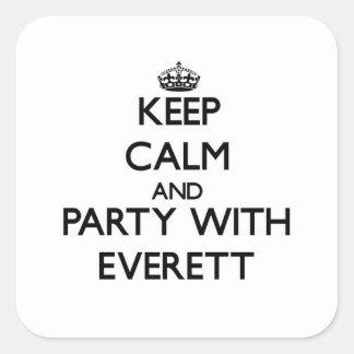 Guarde la calma y vaya de fiesta con Everett Pegatinas Cuadradases Personalizadas