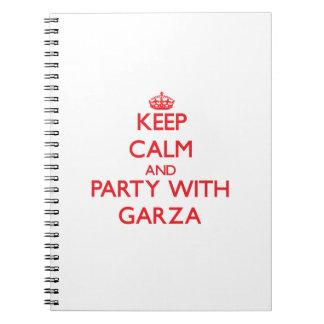 Guarde la calma y vaya de fiesta con Garza Libro De Apuntes Con Espiral