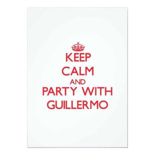 Guarde la calma y vaya de fiesta con Guillermo Invitación 12,7 X 17,8 Cm