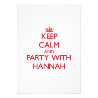 Guarde la calma y vaya de fiesta con Hannah Invitaciones Personalizada