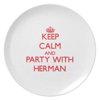 Guarde la calma y vaya de fiesta con Herman Plato De Comida