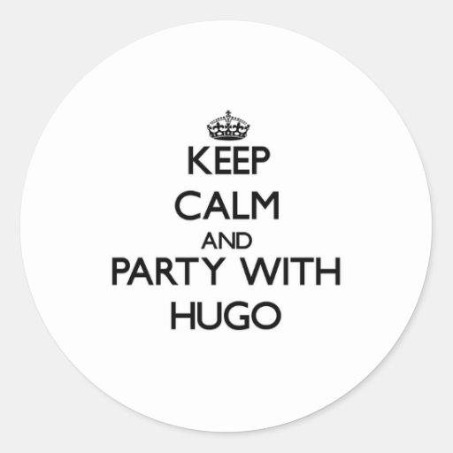 Guarde la calma y vaya de fiesta con Hugo Pegatinas