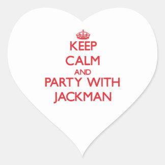 Guarde la calma y vaya de fiesta con Jackman Pegatina En Forma De Corazón