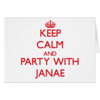 Guarde la calma y vaya de fiesta con Janae Tarjeta De Felicitación