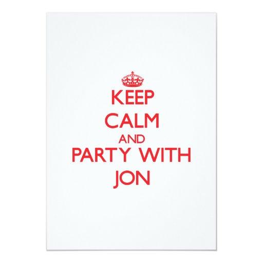 Guarde la calma y vaya de fiesta con Jon Invitación 12,7 X 17,8 Cm