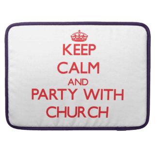 Guarde la calma y vaya de fiesta con la iglesia fundas para macbook pro