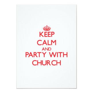 Guarde la calma y vaya de fiesta con la iglesia invitacion personalizada