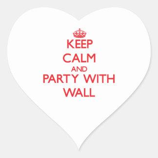 Guarde la calma y vaya de fiesta con la pared pegatinas de corazon