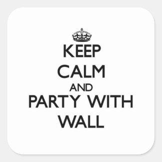 Guarde la calma y vaya de fiesta con la pared calcomania cuadradas personalizadas