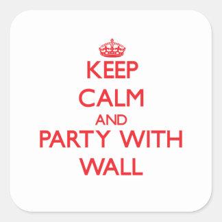 Guarde la calma y vaya de fiesta con la pared calcomanías cuadradass