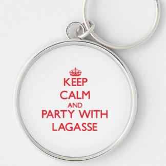 Guarde la calma y vaya de fiesta con Lagasse Llavero Personalizado