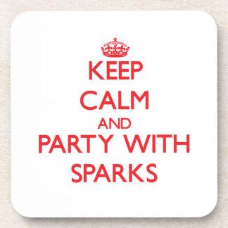 Guarde la calma y vaya de fiesta con las chispas posavasos de bebidas