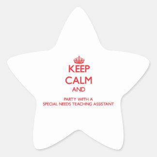 Guarde la calma y vaya de fiesta con las necesidad colcomanias forma de estrella