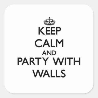 Guarde la calma y vaya de fiesta con las paredes pegatina cuadradas personalizadas