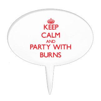 Guarde la calma y vaya de fiesta con las quemadura palillos de tarta