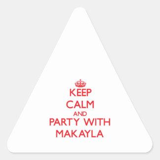 Guarde la calma y vaya de fiesta con Makayla Calcomanías De Triangulos