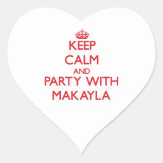 Guarde la calma y vaya de fiesta con Makayla Pegatinas Corazon Personalizadas