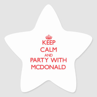 Guarde la calma y vaya de fiesta con Mcdonald Pegatinas Forma De Estrella Personalizadas