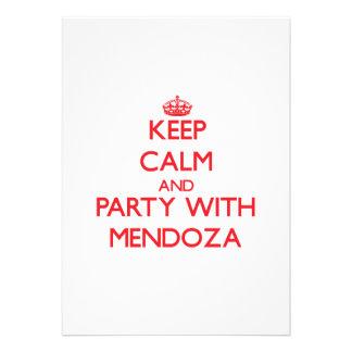 Guarde la calma y vaya de fiesta con Mendoza Invitación Personalizada