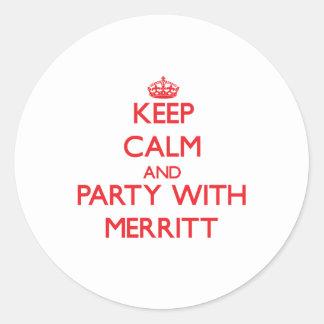 Guarde la calma y vaya de fiesta con Merritt Pegatinas Redondas