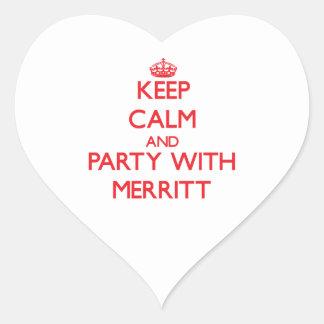 Guarde la calma y vaya de fiesta con Merritt Calcomanía Corazón Personalizadas