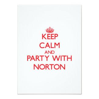 """Guarde la calma y vaya de fiesta con Norton Invitación 5"""" X 7"""""""