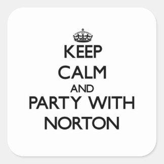Guarde la calma y vaya de fiesta con Norton Calcomania Cuadradas Personalizadas
