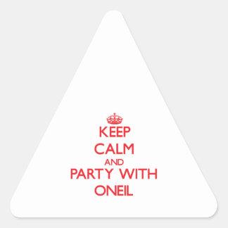 Guarde la calma y vaya de fiesta con Oneil Pegatina Triangular
