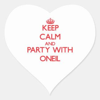 Guarde la calma y vaya de fiesta con Oneil Pegatina En Forma De Corazón