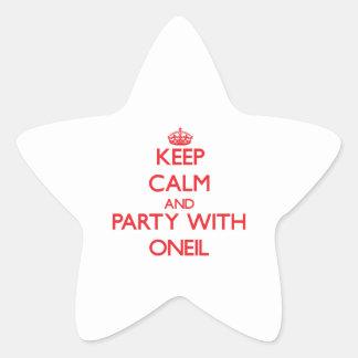 Guarde la calma y vaya de fiesta con Oneil Pegatina En Forma De Estrella