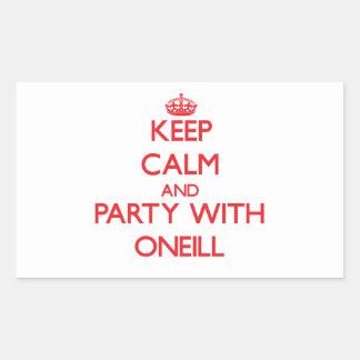 Guarde la calma y vaya de fiesta con Oneill Pegatina Rectangular