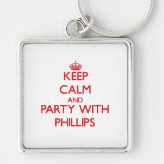 Guarde la calma y vaya de fiesta con Phillips Llavero Personalizado