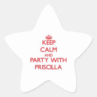 Guarde la calma y vaya de fiesta con Priscilla Colcomanias Forma De Estrellaes Personalizadas
