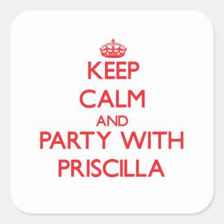 Guarde la calma y vaya de fiesta con Priscilla Colcomania Cuadrada