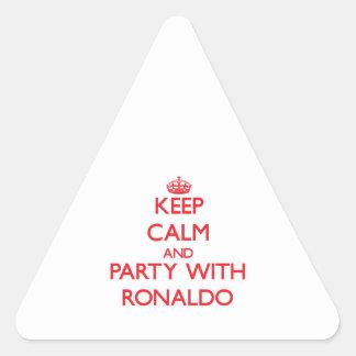 Guarde la calma y vaya de fiesta con Ronaldo Pegatina Triangulo