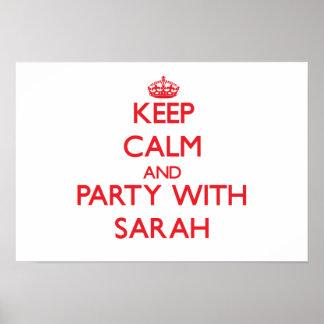 Guarde la calma y vaya de fiesta con Sarah Posters