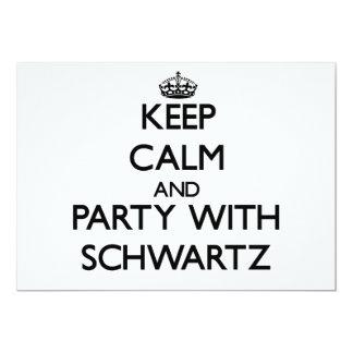 Guarde la calma y vaya de fiesta con Schwartz Invitación 12,7 X 17,8 Cm