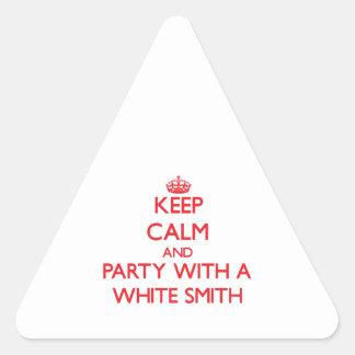 Guarde la calma y vaya de fiesta con Smith blanco Calcomania De Trianguladas