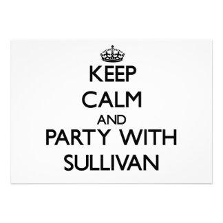 Guarde la calma y vaya de fiesta con Sullivan Invitación Personalizada