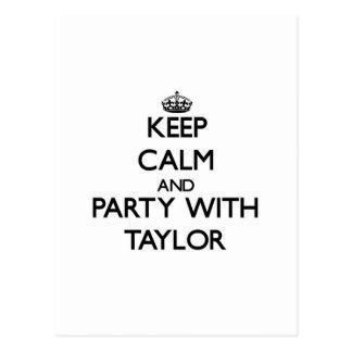 Guarde la calma y vaya de fiesta con Taylor Tarjetas Postales