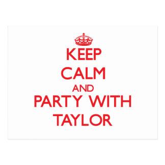 Guarde la calma y vaya de fiesta con Taylor Postales
