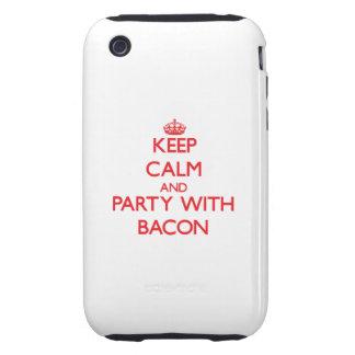 Guarde la calma y vaya de fiesta con tocino iPhone 3 tough fundas