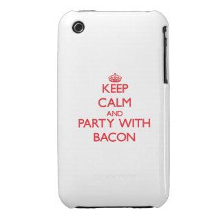 Guarde la calma y vaya de fiesta con tocino Case-Mate iPhone 3 protectores