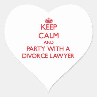 Guarde la calma y vaya de fiesta con un abogado de pegatina de corazón
