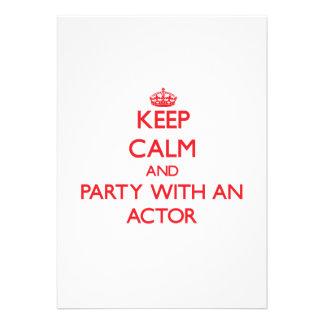 Guarde la calma y vaya de fiesta con un actor comunicado personalizado