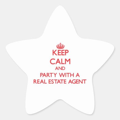 Guarde la calma y vaya de fiesta con un agente pegatina en forma de estrella