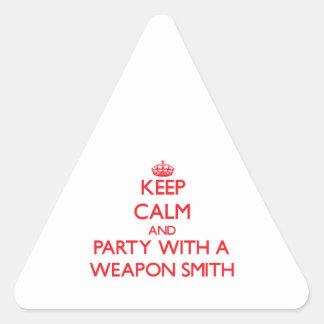 Guarde la calma y vaya de fiesta con un arma Smith Pegatinas Triangulo Personalizadas