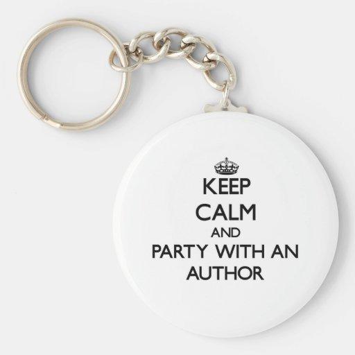 Guarde la calma y vaya de fiesta con un autor llavero