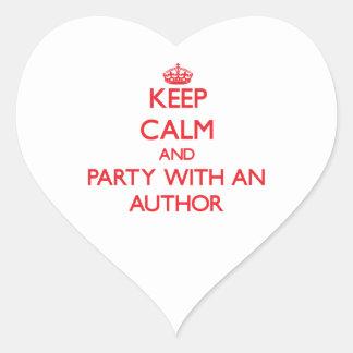 Guarde la calma y vaya de fiesta con un autor pegatina corazón